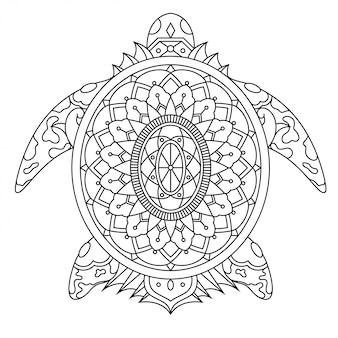 Черепаха в линейном стиле