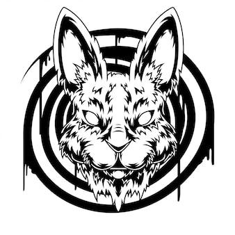 Черно-белая иллюстрация головы кролика