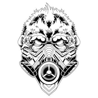 Черно-белая иллюстрация противогаз гориллы