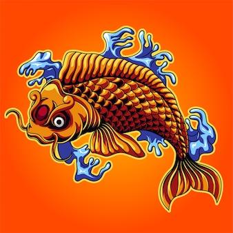 Иллюстрация рыбы кои японии