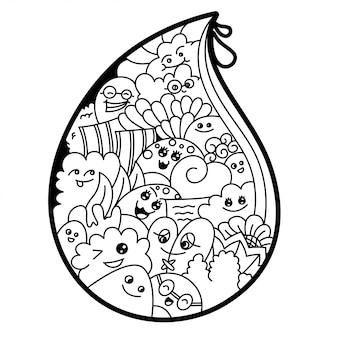 Черно-белая вода капельного каракули иллюстрации
