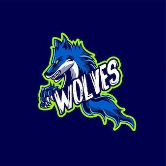 オオカミマスコットとエスポートゲームのロゴ