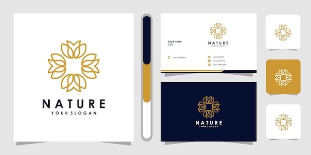 ラインアートスタイルのフラワーロゴ。ロゴはスパ、ビューティーサロン、装飾、ブティックに使用できます。と名刺