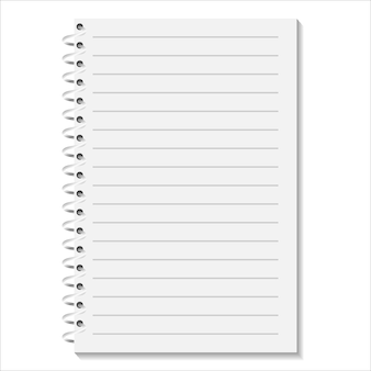 白い背景の上のスパイラルとノート