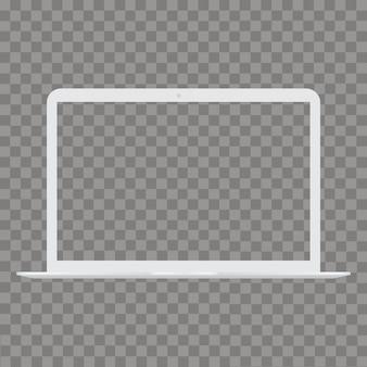 透明なスクリーンとノートパソコンのモックアップ