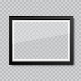 現実的な空白のガラスの写真やフォトフレーム