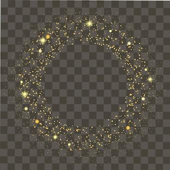 Абстрактные круглые светящиеся огни и золотые блестки на прозрачном фоне