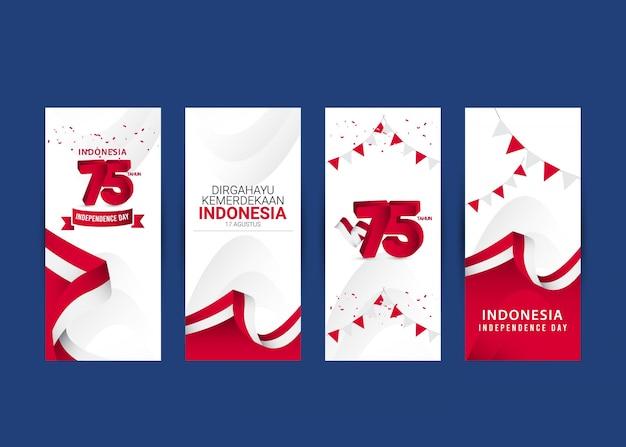 День независимости индонезии шаблон. дизайн для баннера, поздравительных открыток или печати.