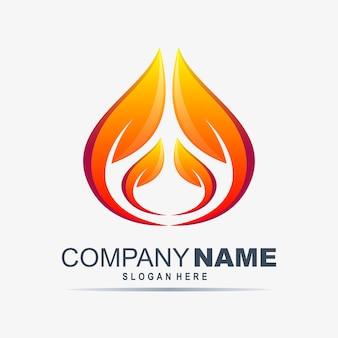 葉のロゴのデザインテンプレートと炎