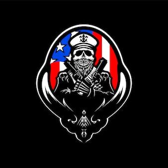 アメリカの国旗と頭蓋骨頭ロゴベクトル図