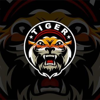 Тигровая голова логотип премиум для спорта