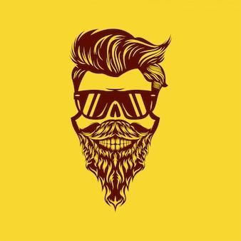素晴らしい頭蓋骨髭ヘッドデザインイラスト