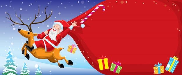 Счастливого рождества дед мороз несет сумку, едет на олене и летит по небу.