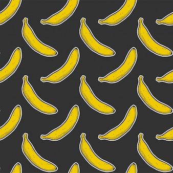 甘い熟したバナナのシームレスパターン