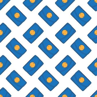 青い財布のシームレスパターン