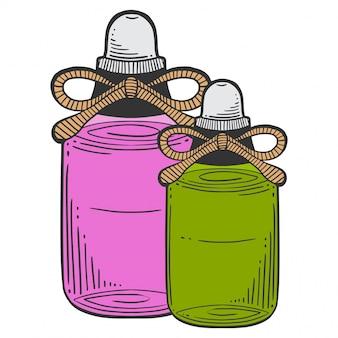 マッサージオイル、アロマセラピーのボトル。