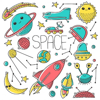宇宙と宇宙のシームレスパターン落書きスタイルのシームレスパターン