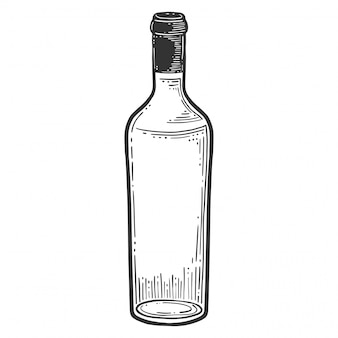 ワインボトル、グラス