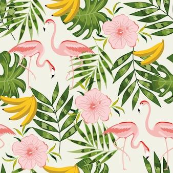 フラミンゴと夏のシームレスパターン。