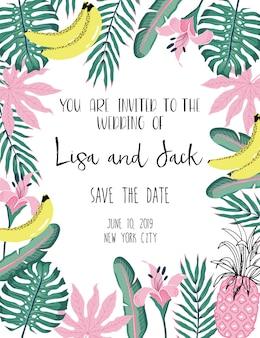 熱帯のエキゾチックな結婚式の招待状カードのテンプレート