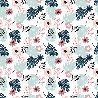 トロピカル花柄とのシームレスなパターン。