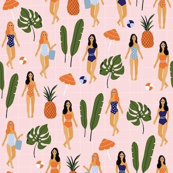 Лето бесшовные модели с девушкой и пальмовых листьев.