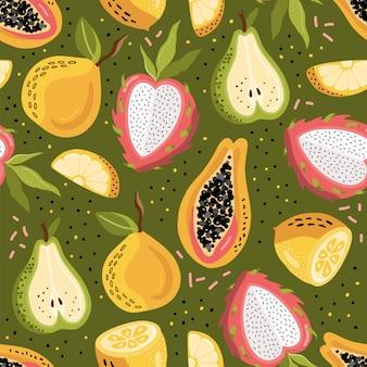 Бесшовный фон с тропическими фруктами.