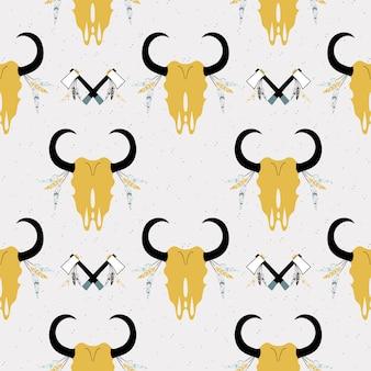 動物の頭蓋骨と野生のシームレスパターン。