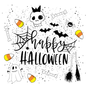 Счастливая открытка на хэллоуин.