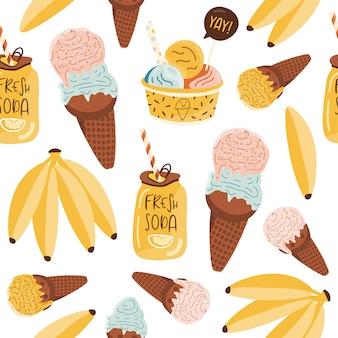 アイスクリームと夏のシームレスなパターン。