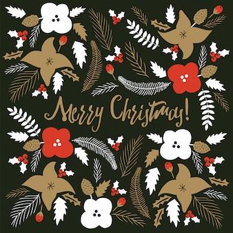 花柄のメリークリスマスカード。