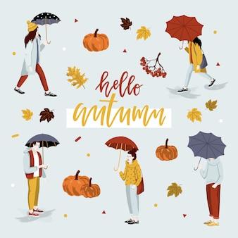 こんにちは人々と秋のカード。