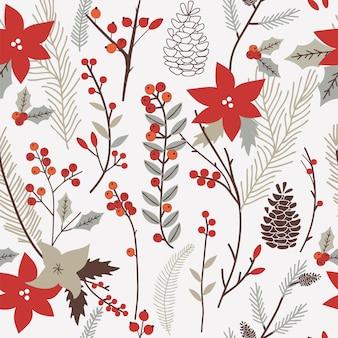 花柄の冬のシームレスなパターン。