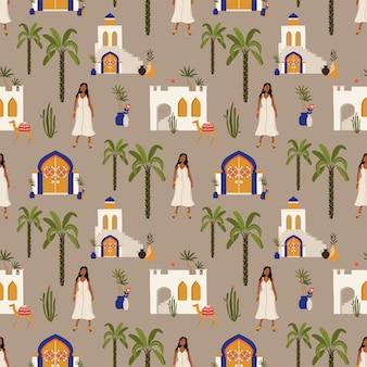 Бесшовный фон с марокканскими элементами.