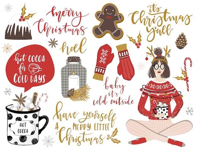 クリスマス要素とレタリングセット。