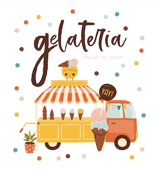 アイスクリームと夏のポスター。