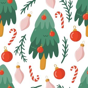 クリスマスツリーとのシームレスなパターン。