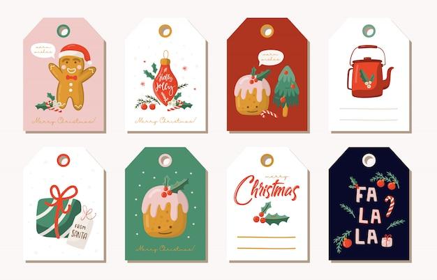 Рождественский подарок теги и наклейки.