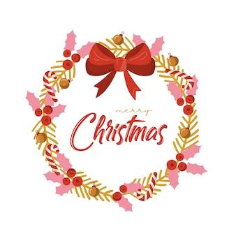 Рождественская открытка с венком.
