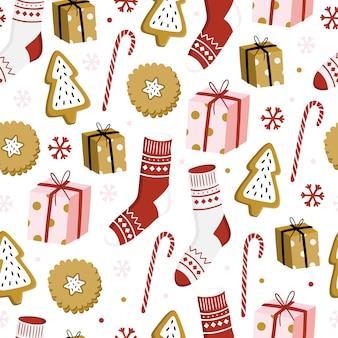 クリスマスのシームレスパターン。