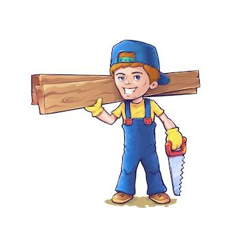 Плотник в мультяшном стиле