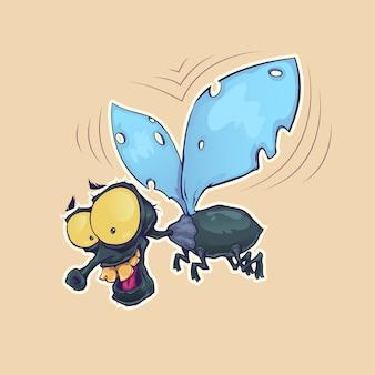 漫画のハエの昆虫