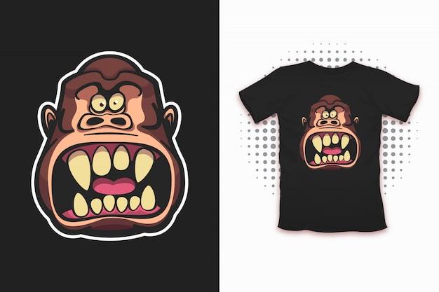 Злой рисунок обезьяны для футболки