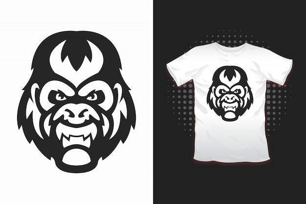 Горилла принт для дизайна футболки