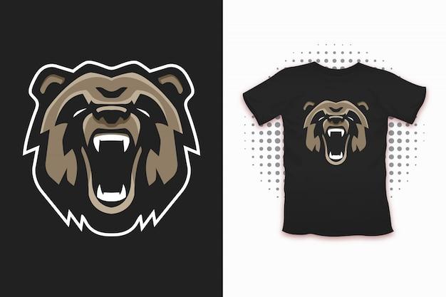 Медведь принт для дизайна футболки