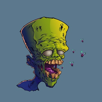 Мультфильм голова зомби