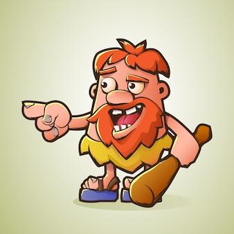 Мультяшный пещерный человек вооружен дубинкой