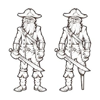 Пират в стиле линии