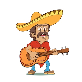 ソンブレロとギターを持つメキシコ人男性