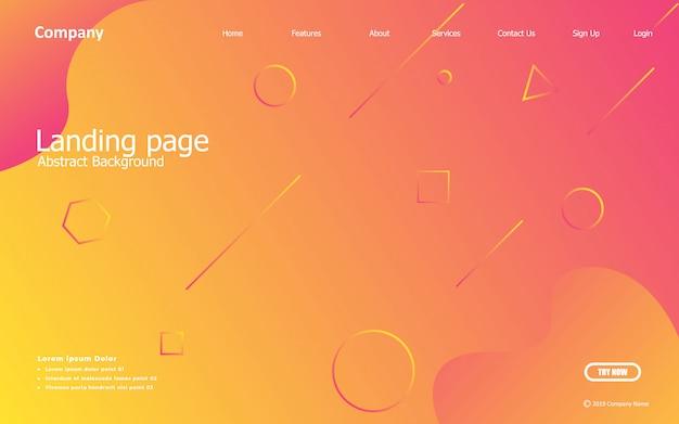 オレンジ色の背景。液体組成ランディングページ、ポスター、チラシ、ベクトルイラストのデザイン